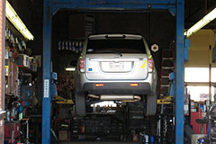 A vehicle lift at Dick's Auto Service, Inc.